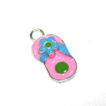 1pce x 20*12mm Rhodium plated pink flip flop with blue daisy enamel charm - SD03 - CHE1074